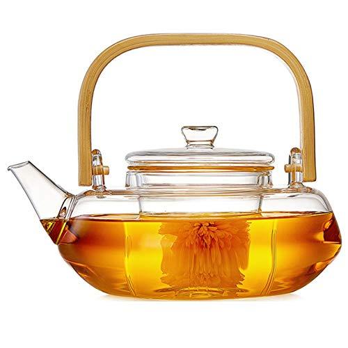 800 ml Glas-Teekanne mit Glas-Ei, Teekanne mit Sieb für losen Tee, sicher auf dem Herd, Teekanne mit Bambusgriff