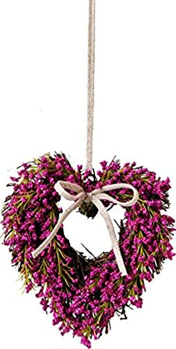Sweet Country Home Heart Shaped Artificial Dark PINK HEATHER HEART Wreath - Hanging Door/Wall Wreath - 14cm or 21cm (21cm)