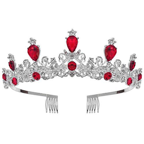 Goneryisour Elegante corona de boda barroca de la reina real de la...