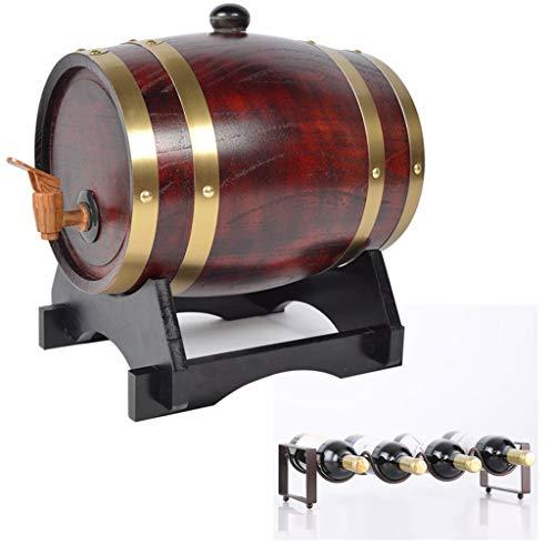 Eiken veroudering vat wijnvat 5L, vintage stijl eiken vat bekleed met aluminiumfolie met flessenrek voor het opslaan van whisky, azijn, chili saus huishoudelijke wijn vat