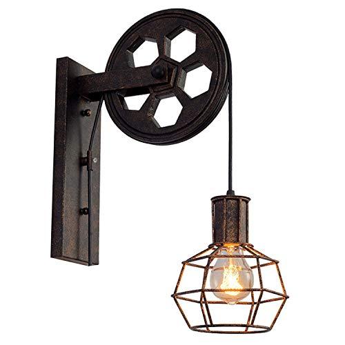 Loft Industrial Retro Lifting Riemenscheibe Wand Lampe Eisen Rusty Persönlichkeit Kreative Restaurant Korridor Aisle Cafe Wall Light (stil : A)