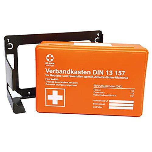 Premium-Verbandskasten-Wandhalterung, Betriebs-Verbandskasten gefüllt nach DIN 13157, Rot-Kreuz-Erste-Hilfe-Wandmontage, Farbe:orange