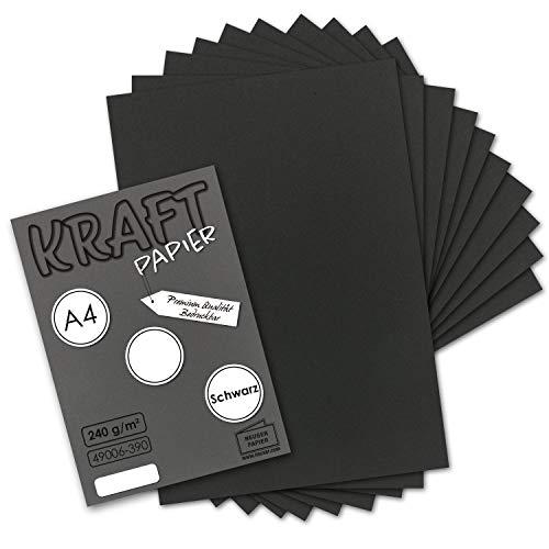 100x Vintage Kraftpapier in Schwarz - DIN A4 21 x 29,7 cm - 210 x 297 mm - 240 g/m² schwarzes Recycling-Papier, 100% ökologisch Bastel-Karton Einzel-Karte I UmWelt by GUSTAV NEUSER®
