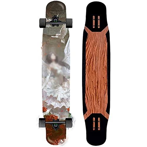 F&FSH Dancing Longboard Skateboard, (fliegendes Muster) 46 Zoll 117 cm Double Kick Deck Skateboards 7-lagige Ahorn- Und Glatte PU-Rollen Für Anfänger Pro Erwachsene Teens Last Maximal 300 Pfund