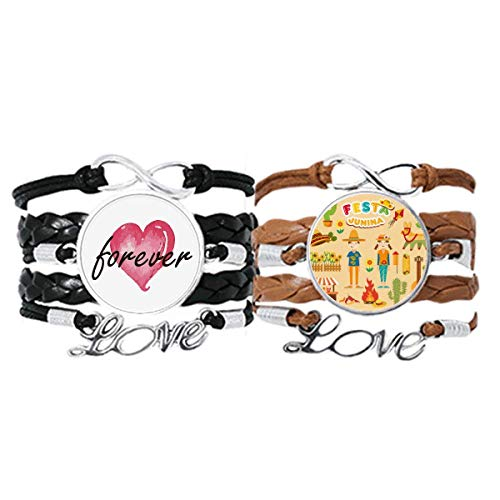 Bestchong Smiling Fire Cactus Guitar Festival Illustration Bracelet Hand Strap Leather Rope Forever Love Wristband Double Set
