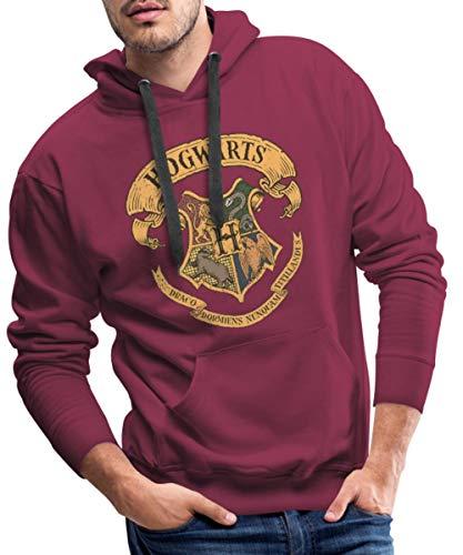 Harry Potter Hogwarts Wappen Männer Premium Hoodie, L, Bordeaux