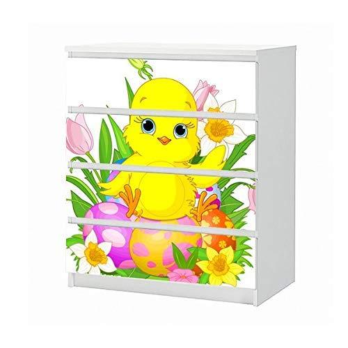 Set Möbelaufkleber für Ikea Kommode MALM 4 Fächer/Schubladen Kinderzimmer Cartoon Kücken gelb Blumen Frühling Ostern Aufkleber Möbelfolie sticker (Ohne Möbel) Folie 25B176