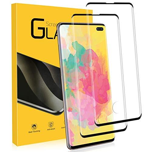 NONZERS Vetro Temperato per Samsung Galaxy S10 Plus, [2 Pezzi] 3D /9H Durezza Curvo Copertura Completa Pellicola Vetro, [Protezione Completa] [Senza Bolle]...