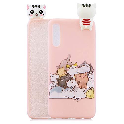 HopMore Kompatibel für Handyhülle Samsung Galaxy A50 Hülle Silikon Kawaii 3D Einhorn Panda Muster Handy Hülle Dünn Bumper Design Slim Schutzhülle Case Cover - Katzen
