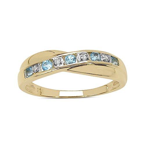 La Collezione Anello Diamenti: Anello di Oro Giallo 9ct e Topazio Azzurro genuino e set Diamanti, Anello di eternità canale, regalo perfetto, anniversario, Misura anello 6,5