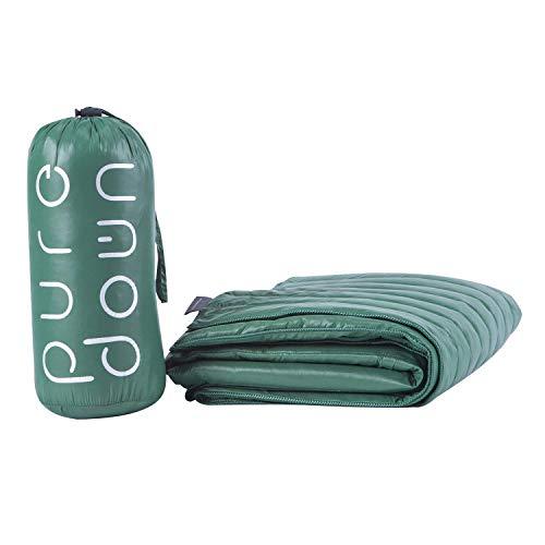 puredown Nylon Waterproof White Goose Down Indoor/Outdoor Camping Blanket Green