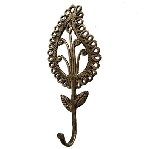 Aakrati - Gancho para Colgar Ropa en la Pared (latón), diseño rústico, Color Bronce