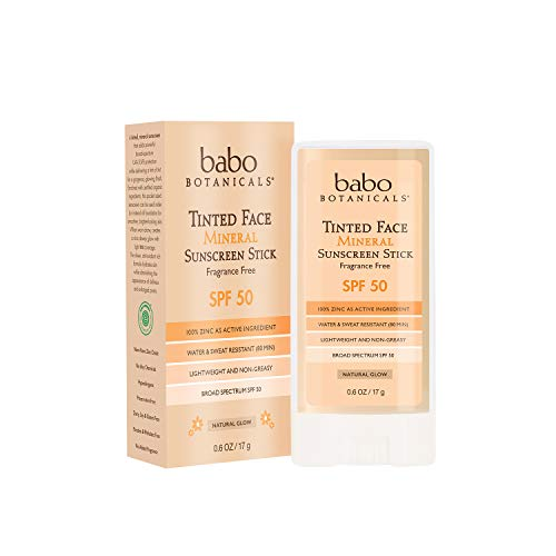 Babo Botanicals Tinted Moisturizing Face Mineral Stick Sunscreen SPF 50 with 70+ Organic Ingredients, Unscented, 0.6 Ounce