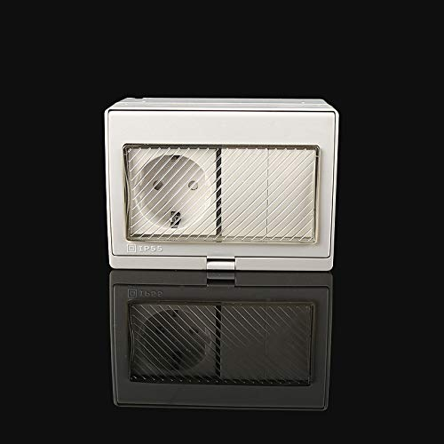 wkd-thvb - Enchufe de pared externo impermeable IP55 con tapa 110 ~ 250 V, enchufe de corriente estándar UE 1 Socket y 2 interruptores