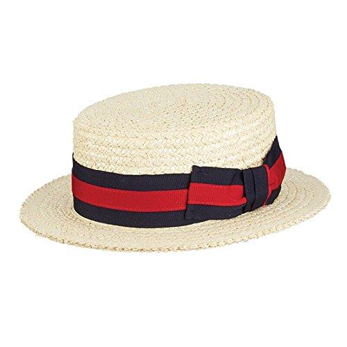 bf589616116 SCALA Men s Dress Straw 1 Piece Boater Hat 10 11mm Laichow Braid Formal  Dress Hat