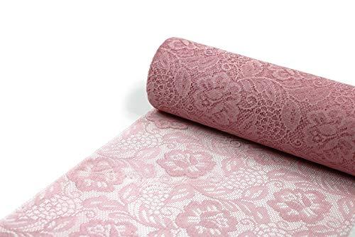 SIZOLACE ® Rose (Spitzen -Optik, Tischläufer, Tischband) 30cm/5m. Blasses ROSA 3010