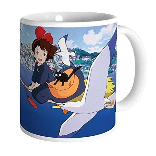 Kikis kleiner Lieferservice - Studio Ghibli - Taza de cerámica premium - Hexe Kiki & Gato Jiji - Caja de regalo