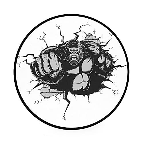 King Kong Gorilla - Esterilla redonda antideslizante para gimnasio y juegos de gatear, gran diámetro, plegable, suave y lavable, organizador de almacenamiento de juguetes