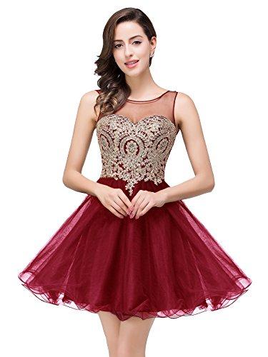 2016 Women's Short Beaded Prom Dress Tulle Applique Evening Gown (Burgundy,8)