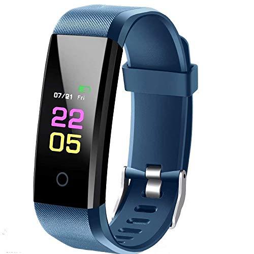Fitness Tracker mit Pulsmesser, IP67 Wasserdicht Fitness Armband, 0,96'' Farbbildschirm Aktivitätstracker Schlafmonitor Schrittzähler Uhr Smart Watch Fitness Uhr für Kinder Frauen Männer - Blau