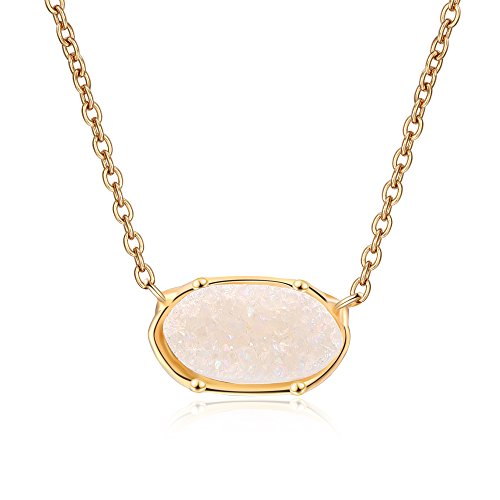 Ambrum Natural Crystal Drusy Necklace Gold Plated Oval Gemstone Chakra Jewelry for Women...