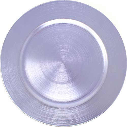 Metallic Foil Charger Plates - Set of 6 - Made of Thick Plastic - Lavender