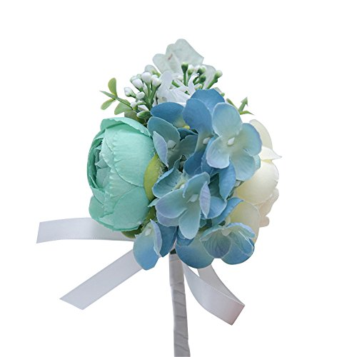 MOJUN Peony Hydrangea Flower Boutonniere Corsage Brooch for Wedding Party Prom Homecoming, Pack of 1, Turquoise+Cream