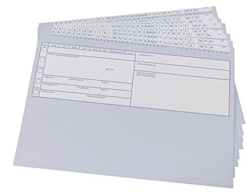 250 Stück Patientenkarteikarten in Blau - geschlossen DIN A5 für Krankengymnastik / Physiotherapie / Ärzte (22698)
