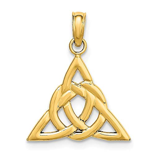 14k Yellow Gold Small Irish Claddagh Celtic Knot Trinity Pendant Charm Necklace Fine Jewelry For Women Gifts For Her