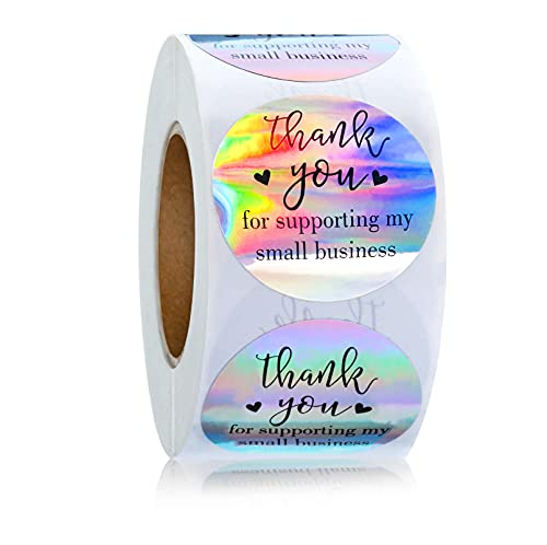 Thank You for Supporting My Small Business Stickers Roll Stickers Adhesive Holographic Stickers ,1.5inch 500 Pieces Rainbow Holographic Stickers Roll for Small Business Boutique Bags