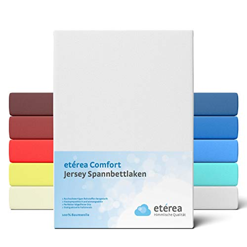 etérea Comfort Jersey Fitted Sheet in Various Sizes and Colours – Soft Fitted Sheet Made from 100% Cotton, Flat Sheet with Approx. 25 cm Base Height and 140 g/m2, Cotton, White, 200x200 - 200x220 cm