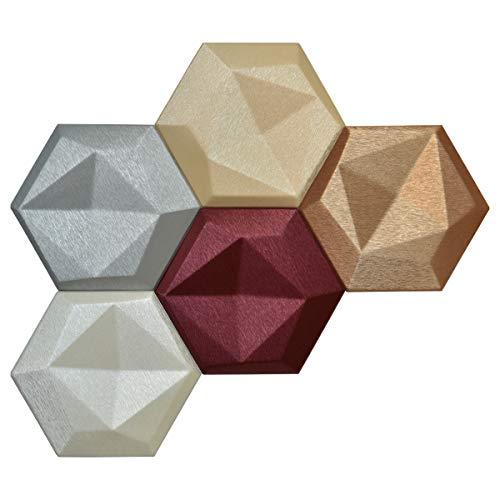 Art3dwallpanels Faux Leather Tiles 3D Wall Panels Hexagonal Mosaic Wall Tiles (20 Pack)