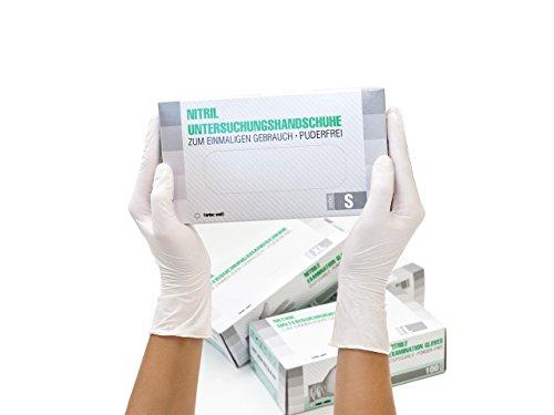Nitrilhandschuhe 100 Stück Box (S, Weiß) Einweghandschuhe, Einmalhandschuhe, Untersuchungshandschuhe, Nitril Handschuhe, puderfrei, ohne Latex, unsteril, latexfrei, disposible gloves, white