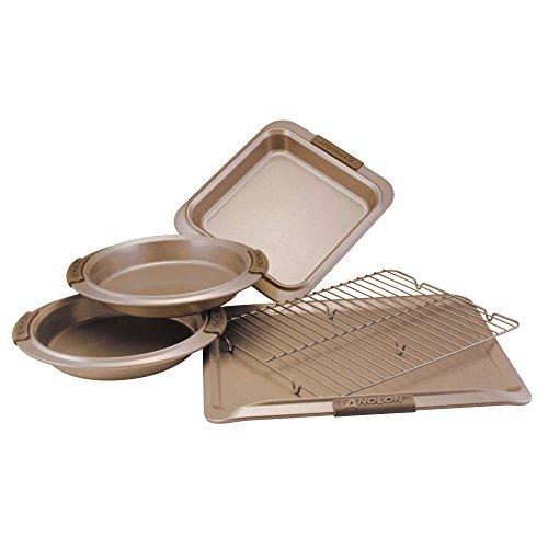 Anolon Advanced Nonstick Bakeware Set / Baking Pans with Grips - 5 Piece, Brown