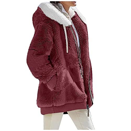 niceoh Chaqueta de forro polar para mujer, suave, mullida, gruesa, cálida, frontal abierta, para invierno, con capucha, con bolsillo, Vino, S