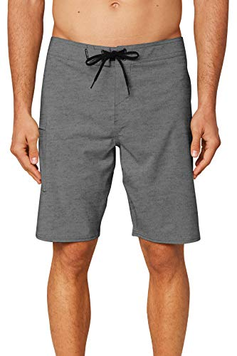 O'NEILL Men's Water Resistant Hyperfreak Stretch Swim Boardshorts, 20 Inch Outseam (Heather Grey/Solid, 36)