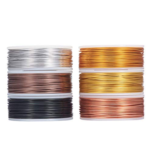 BENECREAT 6 Rolls Mixed Jewelry Aluminum Wire(18 Gauge, 75 Feet/Roll) Bendable Metal Wire for Jewelry Beading Sculpture Craft - Regular Color