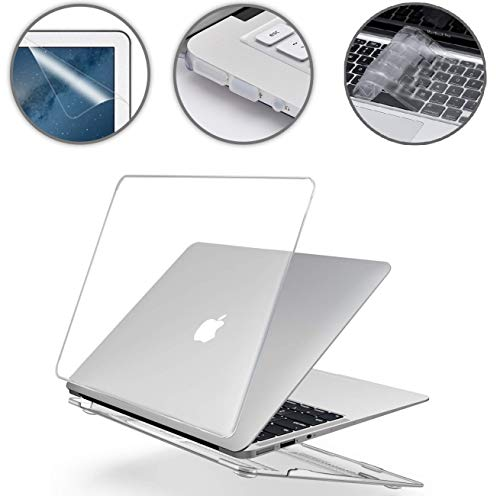i-Buy Harte Schutzhülle Hülle Kompatibel für MacBook Air 13 Zoll (Modell A1369 A1466) 2010-2017 Freisetzung + TPU Tastaturschutz + Schutzfolie + Anti-Staub-Stecker - Kristall Klar