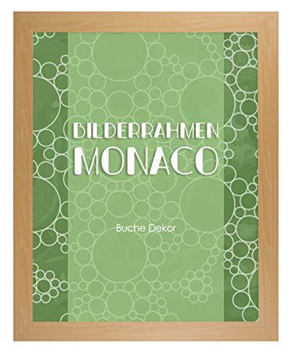 Homedeco-24 Monaco MDF Bilderrahmen ohne Rundungen 45 x 60 cm Größe wählbar 60 x 45 cm Buche mit Acrylglas klar 1 mm
