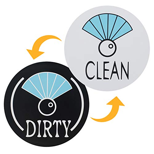 Aracky Dishwasher Magnet Clean Dirty Sign Double Sided Magnet Flip with 3M Adhesive Metal Plate, Reversible Funny Clean Dirty Magnet for Stainless Steel and Plastic Surface Dishwasher