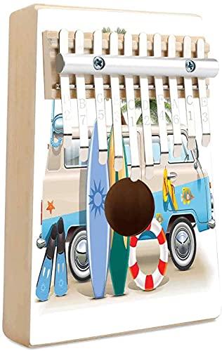 Surf Kalimba 10 teclas Thumb Piano Concepto de fin de semana de surf con elementos de buceo Aletas Snorkel y viaje en furgoneta Relax Peace Portable Mbira Finger Piano Music Gift para niños adultos p