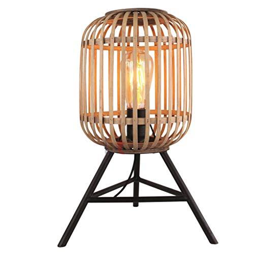 Tischleuchte Tisch-Lampe Holz Metall Korb-Lampe schwarz Malacca Vintage Rattan Stil Rustikal mit Dreibein Stativ-Gestell E27 Landhaus Wohnzimmerlampe Loft-Lampe Schlafzimmer (Tischleuchte)