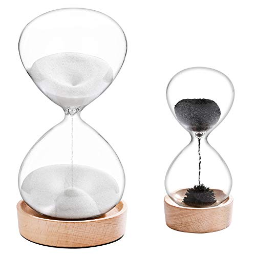 SuLiao Magnetic Hourglass 2 Minute Sand Clock Timer 60 Minute Set: Lager White Sand Watch 60 Min,Unique Wooden Base Black Magnetic Hour Glass Sandglass Reloj De Arena for Gift Home Office Desk Decor
