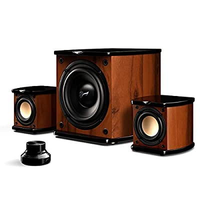 "SWANS M20W Active Speakers, Hifi Bookshelf Speakers with 6"" Subwoofer, Wood Enclosure 2.1 Speaker with 3.5mm Quick Swap Cable and Volume Turntable, Rosewood Living Room Speakers- 50W RMS by HiVi Acoustics"