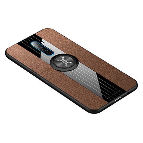 HAOYE Hülle für Realme X2 Pro, 360 Grad Ring Stand [Kompatible Magnetische Autohalterung] Schutzhülle, [TPU Rahmen] Handyhülle, Stoff - Backcover Cover Canvas Design. Braun