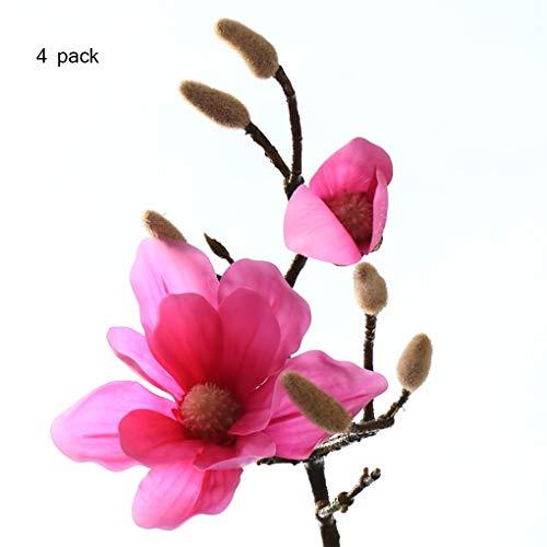 Sarazong Artificielle Fleur De Magnolia, Décoration De Fausse Fleur Arrangement De La Fleur Salon Ameublement Faux Fleur Artificielle Fleur Fleur Éternelle,Red,S