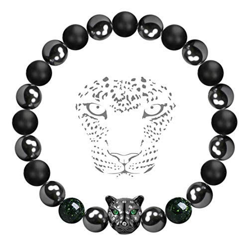 Karseer Black Panther Magnetic Hematite and Matte Onyx Natural Stones Beaded Stretch Bracelet Anti Anxiety Healing Energy Crystal Meditation Prayer Beads Bracelet for Stress and Depression Relief