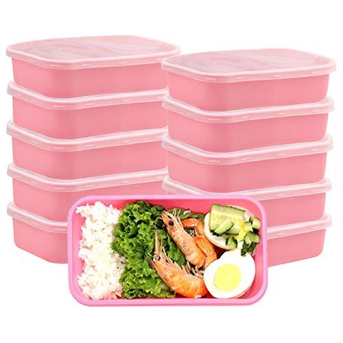 OITUGG Contenedores de preparación de Comidas con Tapas, Caja de Almuerzo Premium, sin BPA, Reutilizables, lavavajillas, microondas, congelador, Caja Fuerte, Paquete de 10 (Pink)