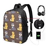 Travel Laptop Backpack Cute Dogs Funny Puppy Comic Terrier Canine Computer Business Backpacks with USB Charging Port Unisex School Bookbag Casual Hiking Daypack