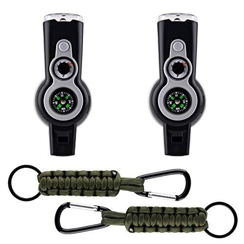 Silbato de supervivencia: Tactical Gear Carabiner Clip 7 en 1 Whistle Kit Emergency 2